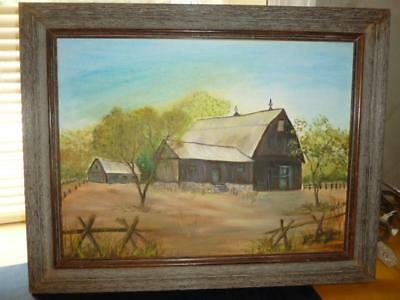 Vintage Oil on Canvas Board Farm Yard Country Painting Barn Wood Frame Signed