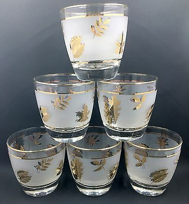 6 Vintage Libbey Mid Century Low Ball Glasses, Frosted Gold Leaf Design