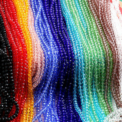 150PCS Wholesale Crystal Glass Faceted Loose Spacer Beads Austrian Pendant Chain