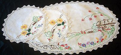 Vintage linen Hand Embroidered House & Sunflowers Duchess Set