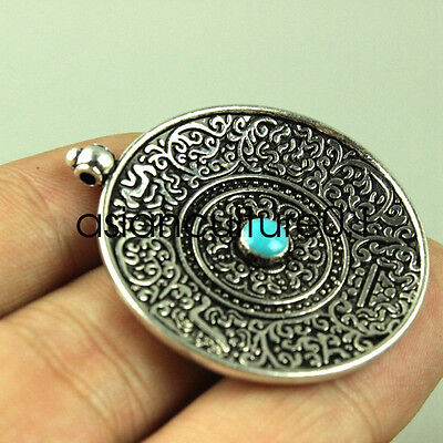Chinese collect Buddhist culture Old Tibetan silver pendant Inlaid turquoise