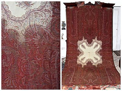 "c.19th Rare Huge Kashmir Cashmere Indian Paisley Wool Shawl 10'7""L x 5'5""W"