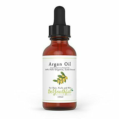 Pure Argan Oil 100ml - 100  Cold Pressed Organic Moroccan Oil For Face, Hair, Sk