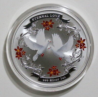 2011 Niue $2 Eternal Love 1 Oz Silver Colorized Dove Coin in Original Package