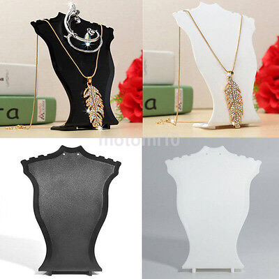 Jewelry Display Necklace Bust Neck Form Counter Show Black/White Plastic UK