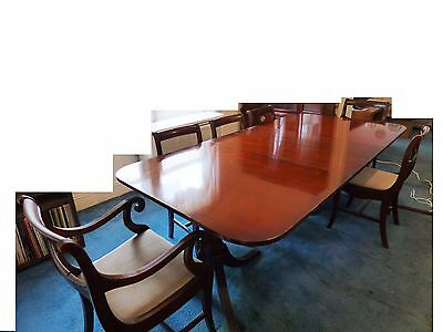 Mahogany Dining Table Double Pedestal 6 Chairs 2 ext's protect pads Vintage