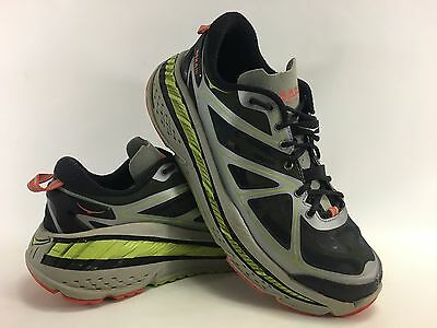 Hoka One One Men's Stinson Lite Running Shoes in Grey/Lime/Red Size 9