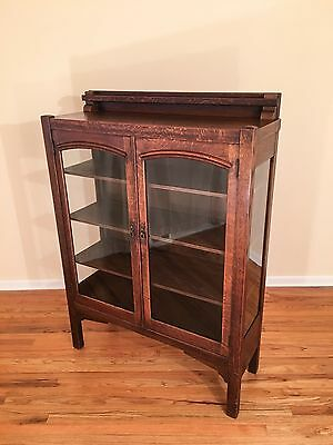 Arts and Crafts Mission Oak Double Door China Display Cabinet Vintage