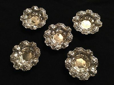Set of 5 Reed & Barton Sterling Silver Francis Nut Dishes X569 With Monograms