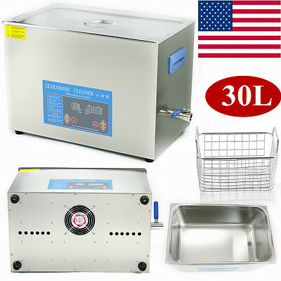 30L Ultrasonic Cleaner Stainless Steel Industry Heated Heater w/Timer & Basket