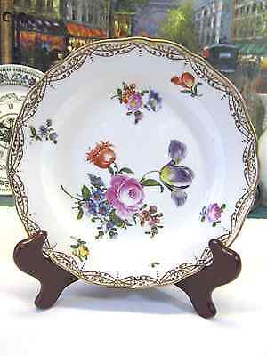 Meissen Blue Crossed Sword Floral Plate(#2)