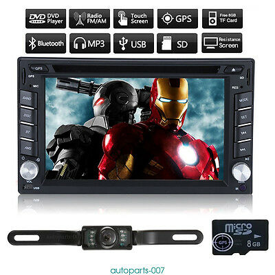 "HD 6.2"" 2 DIN GPS Navigation Car Stereo DVD Player Bluetooth With Backup Camera"