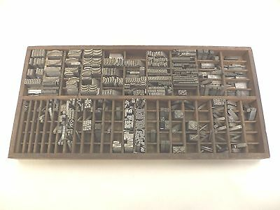 Antique Wood Printing Type Tray & Lead Type Characters, Shadow Box, Wood Tray