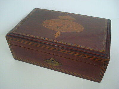 Antique TUNBRIDGE WARE Wood BOX w/Lock Beautful Inlay Blue Velvet QUALITY Estate