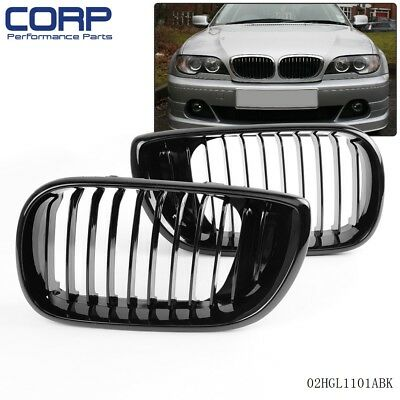 Black For 2002-2005 BMW E46 3-Series 4dr 4d Sedan  Front Bumper Hood Grille