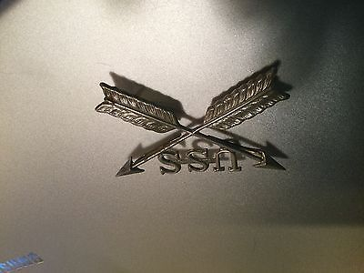 """Civil War-Indian Wars, Large Silver Crossed Arrows """"USS"""" Pin, reproduction"""