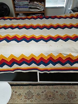 1870's Turkey Red, Cheddar and Blue Streak of Lightening Zigzag Quilt Top!