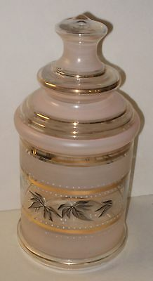 Vintage Pink & Gray Glass Gold Tone Trim Large Apothecary Style Jar & Lid