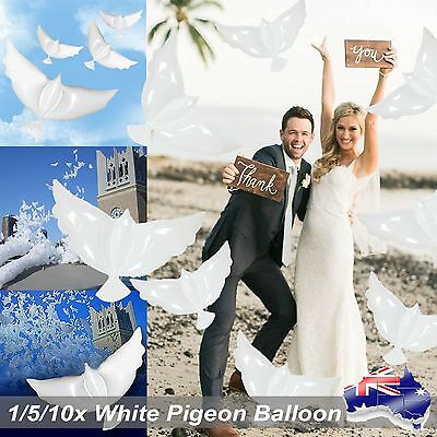 1/5/10x White Dove Peace Flying Pigeon Foil Balloons Prop Wedding Party Decorati
