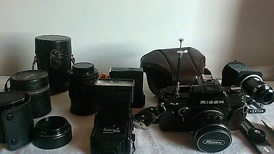 Vintage Ricoh TLS 401 Black Film Camera with extras!