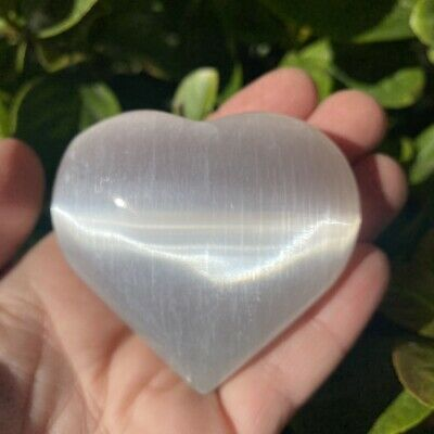 3 X Selenite Puffy Hearts - High Grade Selenite From Morocco