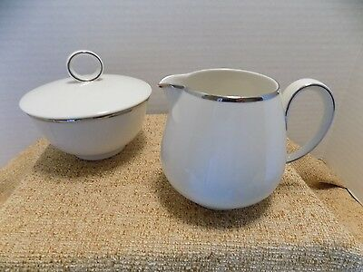 Franciscan Porcelain, Simplicity, Platinum Edged, Sugar and Creamer, Excellent C