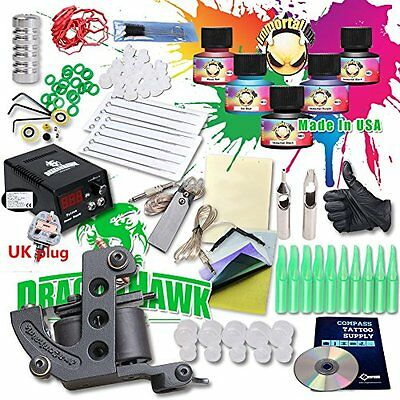 DragonHawk Starter Tattoo Kit Machines USA Brand Inks Colors Top CE Power Supply