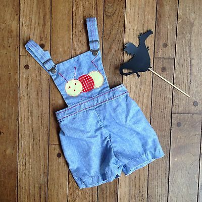 Fine Togs Vintage Baby Boy Shorts Overalls with Caterpillar on Front Size 18 M.