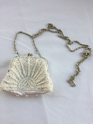 "Wedding Purse Beaded White Silver Chain 4""x4"" Evening Bag - Prom Purse - Bridal"