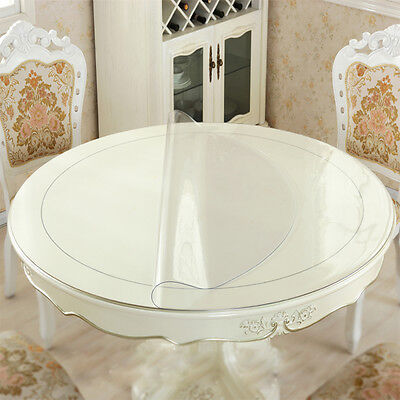 Round Tablecloth Crystal PVC Table Cover Soft Protector Glass Oilcloth 1.5mm