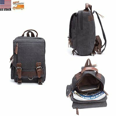 Vintage Men Women Canvas Backpack Rucksack School Travel Work Laptop Bag Satchel