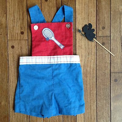 Healthtex Vintage Baby Boy Shorts Overalls with Tennis Racket on Front Size 3T.