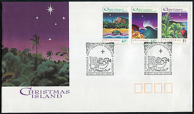 CHRISTMAS ISLAND 1993 Christmas, SET OF 3, USED on First Day Cover