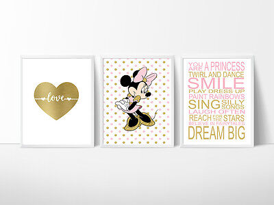 3 Print Set Minnie Mouse Nursery Room Prints, Kids wall decor,