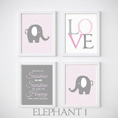 4 Print Set Elephant Nursery Room Prints, Kids wall decor,