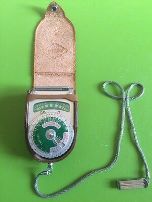 ~~DEAL~~Vintage 1958 Alpex Light Exposure Meter Green Dial w/ Case & Chain