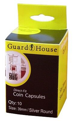 Guardhouse Silver Round 39mm Direct Fit Coin Capsules, 10 pack