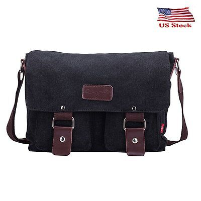 Men's Vintage Satchel Briefcase Canvas Shoulder Messenger Laptop Bag Book Bags