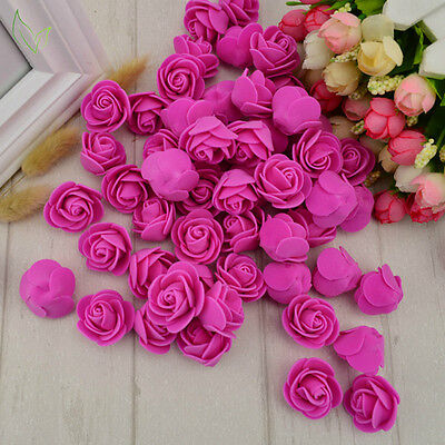 100pcs PE Foam Fake Artificial Flower Roses Head for Wedding Decoration Wreath