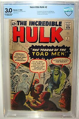 The Incredible Hulk #2 CBCS>CGC 3.0 Marvel 1962 First Appearance Green Hulk Toad