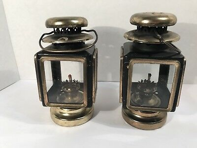Vintage Made In Hong Kong Carriage Oil Lamps Lanterns Black Brass