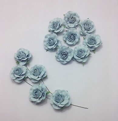 50 Light Blue Wedding Flowers Paper Roses 35mm  Party Decorations Wire Stem