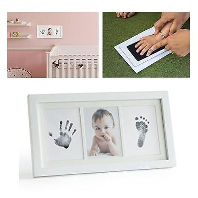 Baby Footprint & Handprint Picture Frame Kit No-Mess Ink for Baby Girl/Boy Gift