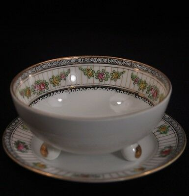 NIPPON Mayonnaise BOWL 3 Footed w/UNDERPLATE GOLD Maruki Mark 1912-1918 FLORAL