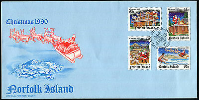 NORFOLK ISLAND 1990 Christmas, SET OF 4, USED on FIRST DAY COVER