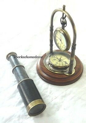 Nautical Antique Finish DESKTOP CLOCK With Brass Compass &FREE AMAZING TELESCOPE