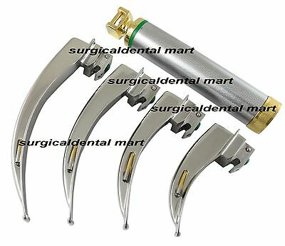 Laryngoscope MacIntosh Fiber Optic Set, No. 1, 2, 3 & 4, Gold Plated FREE SHIP