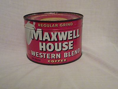 UNOPENED, FULL One Pound Red Maxwell House Key-Wind Coffee Tin; OLD, VERY RARE!