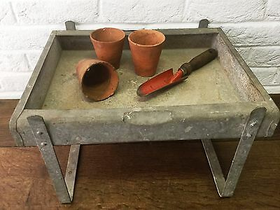 Vintage Galvanised Old Rustic Watertight Raised Trough - Garden/Potting Shed Use