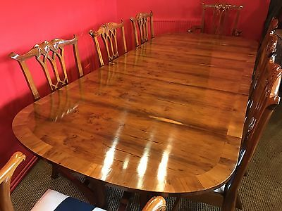 Art Deco Grand Regency Style Burr Yew Tree Dining Set Pro French Polished